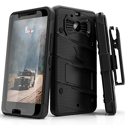 HTC Bolt Case, Zizo [Bolt Series] w/ FREE [HTC Bolt Screen Protector] Kickstand [12 ft. Military Grade Drop Tested] Holster Clip - Case for HTC Bolt