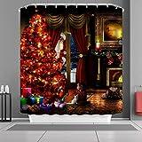 VANCAR Waterproof Bathroom Decor Custom Xmas Merry Christmas Shower Curtain Sets with Hooks 66''X72'' Santa Claus Christmas Eve Tree Gifts Fireplace Pattern Print