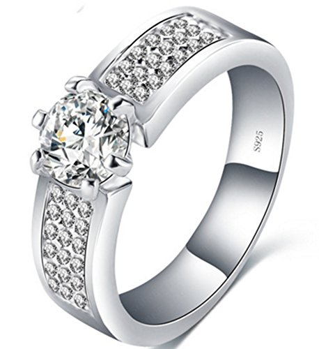 Richy-Glory - S925 Luxury Unique Rings Bijoux Hearts and Arrows (SIZE : 9)