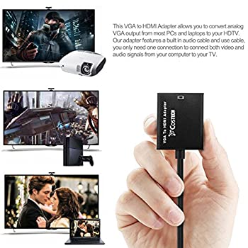 VGA to HDMI Output, Costech HD 1080p TV AV HDTV Video Cable Converter Adapter Plug and Play with Audio for HDTVs, monitors, displayers,Laptop Desktop Computer (VGA to HDMI-1 Pack)