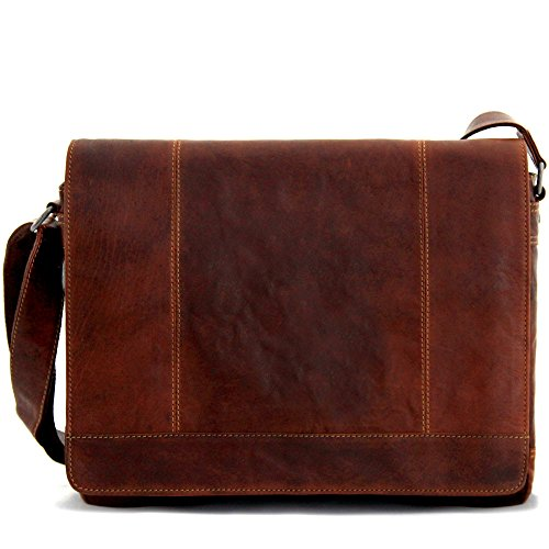 Jack Georges Voyager Collection Full Size Leather Messenger Bag in Brown (Leather Jack Georges Bag)
