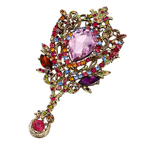 EVER FAITH Gold-Tone Crystal 4 Inch Vintage Style Floral Vine Tear Drop Brooch Pendant Multicolor ()