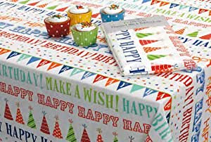 Amazon.com: Happy Birthday! Eco-Vinyl Tablecloth, 60 ...