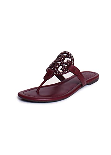 b5a295bc1 Tory Burch Miller Jewel Embellished Leather Thong Sandals in Imperial  Garnet Size 7
