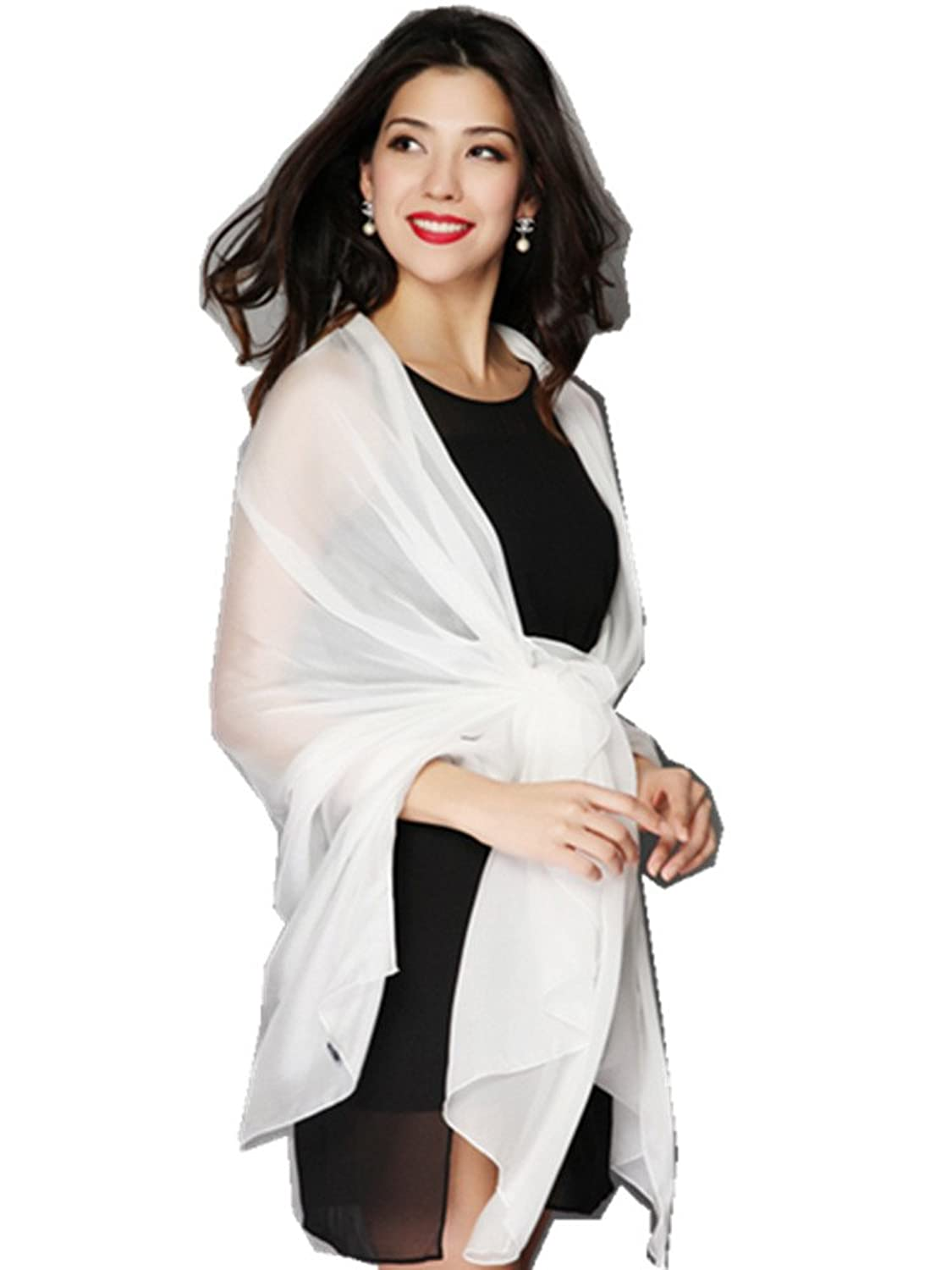Novels-wear 2017new 100%mulberry Silk Scarf Wrap Solid Offwhite Black Various Size (MEDIUM, OFFWHITE)