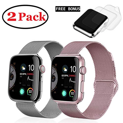 (2 Pack) R&B Watch Band 38mm 40mm Stainless Steel Loop Mesh Strap Compatible for iWatch Apple Watch Series 4 3 2 1 Bands 38mm 40mm - 2xScreen Protector As Gift ()