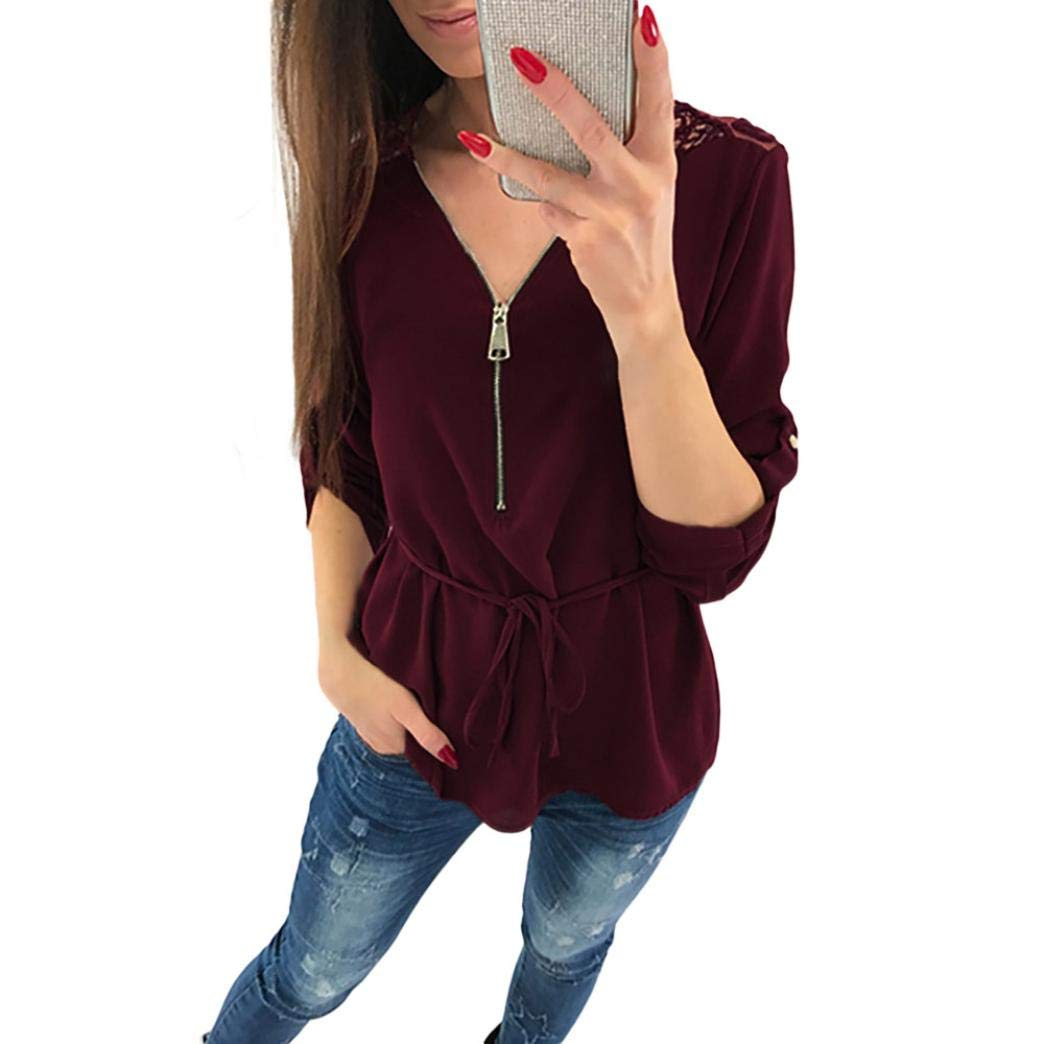 Sothread Womens Back Lace Casual Tops Shirt Ladies V Neck Zipper Loose T-Shirt Blouse Tee Top