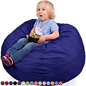 Oversized Bean Bag Chair in Sapphire Blue - Machine Washable Big Soft Comfort Cover & Memory Foam Filler - Cozy Lounger & Bed - Kids & Teens Love This Huge Sack - Indoor Furniture By Panda Sleep