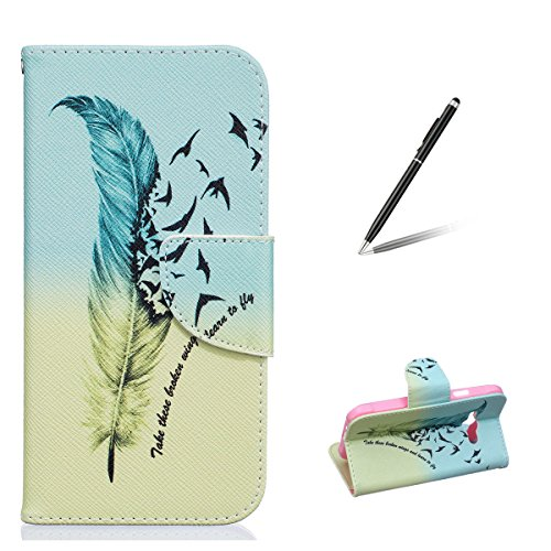 Funda Samsung J1 Ace, Samsung Galaxy J1 Ace Carcasa Funda Cuero [Pluma Libre] Samsung Galaxy J1 Ace Case Book Estilo Libro billetera con correa de cordón Magnético Folio Flip Caso pata de cabra titula Las plumas de aves