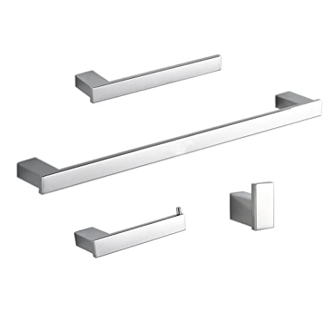 Beelee BA800SET1 SUS 304 Stainless Steel 4-Piece Bathroom Accessory Set RUSTPROOF Including Towel Bar Toilet Paper Holder Towel Ring Robe Hook Wall ...