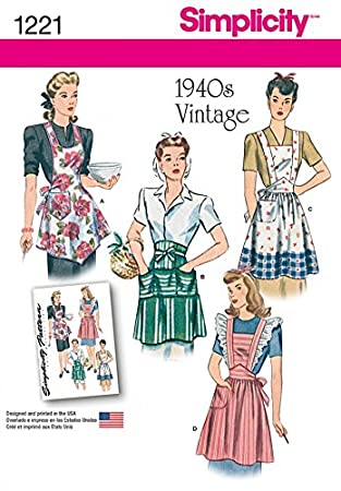 Simplicity 1221 Patron De Couture Facile Pour Tabliers De Style Vintage Des  Années 1940, Pour