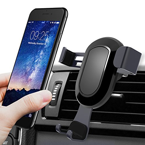 Cell Phone Holder for Car, BlueFit Car Phone Mount Air Vent, One Touch and Auto-Clamping for iPhone X 8/8s 7 Plus 6s Plus 6 SE Samsung Galaxy S8 Edge S7 S6 Note 8 5 and More Smartphone- Black (3.42a Car)