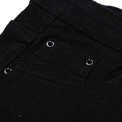 Gusspower Vaqueros Skinny Push-Up Pantalones Rotos Elástico Jeans Bordados Vaqueros para Mujer Negro Negro
