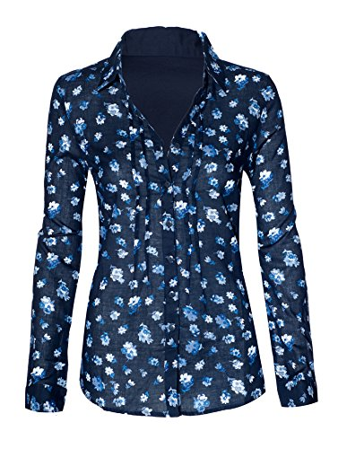 Buy cheap womens floral rolled sleeve button neck high low loose business casual top