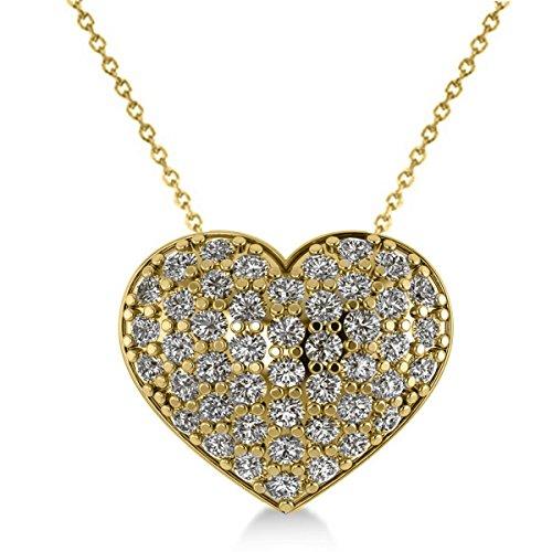Allurez Pave Diamond Puffed Heart Pendant Necklace 14k Yellow Gold (1.38ct)
