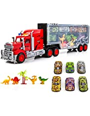 Toysery Transport Truck Carrier Toy   Large Mobile Garage Truck Toy for Boys and Girls   Includes Small Cars and Dinosaurs   Non-Battery Operated   Ideal Toy Gift for Kids