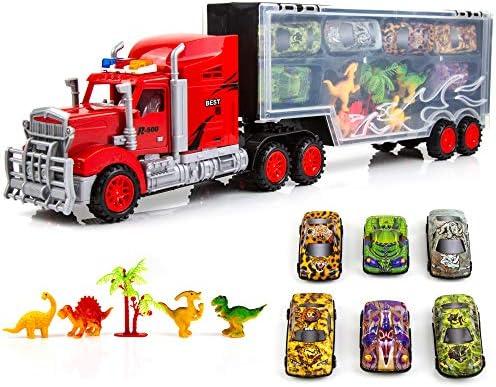Toysery 運搬トラックキャリア おもちゃ | 大型モバイルガレージトラックおもちゃ 男の子と女の子用 | 小さな車と恐竜付き | 電池不要 | 子供への理想的なおもちゃギフト