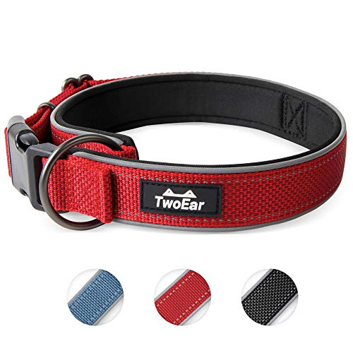 TwoEar Dog Collar Neoprene Padded Soft Comfortable Dog Collar Heavy Duty Adjustable Breathable Reflective Durable for Extral Large Medium Small Dogs Pet and All Breed(L,Red)