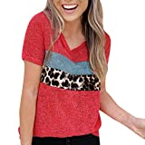 Software : Tantisy ♣↭♣ Women's Simple Knitting T-Shirt Short Sleeve Leopard Patchwork Casual Ladies Blouse Red
