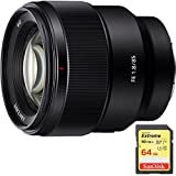 Sony FE 85mm F1.8 Full-frame E-mount Fast Prime Lens (SEL85F18) with Sandisk 64GB Extreme SD Memory UHS-I Card