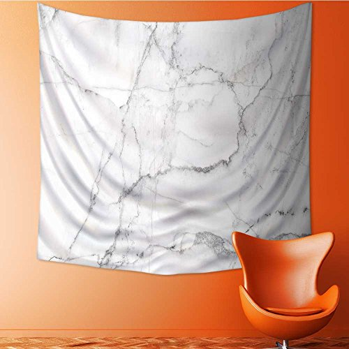 AuraiseHome Polyester Tapestry Wall Hanging Natural White Marble Texture for Skin Tile Wallpaper Luxurious Background Picture Wall Decor for Bedroom Living Room Dorm55W x 55L Inch