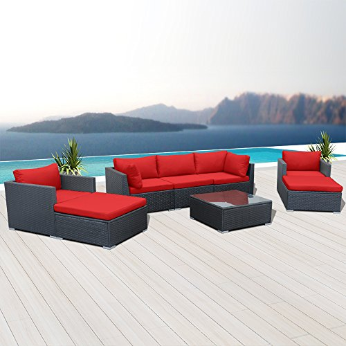 Modenzi V8-U Outdoor Sectional Patio Furniture Espresso Brown Wicker Sofa Set (Red)