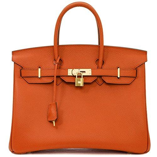 Macton Cowskin European and American Classic Padlock Genuine Leather Handbag Mc-1329 (13.8