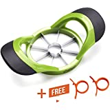 Chefaith 8-Blades Apple Slicer, Corer, Cutter, Wedger, Divider [2 Free Orange Peelers as Bonus] - Ultra-Sharp Stainless Steel Blade with Ergonomic Anti-Slip Silicone Handle for Comfortable Grip, Green