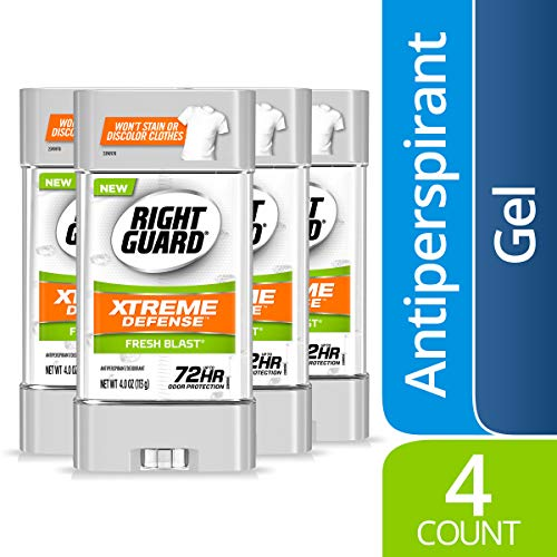 Right Guard Xtreme Defense Antiperspirant Deodorant Gel, Fresh Blast, 4 Ounce (4 Count)
