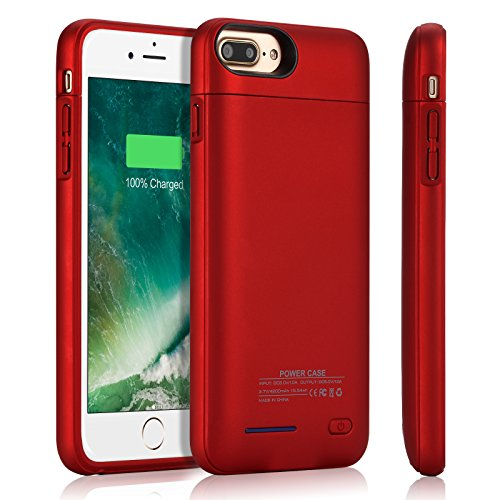 iPhone 8 Plus/7 Plus Battery Case YISHDA 4200mAh Portable Charging Case for iPhone 8 Plus, iPhone 7 Plus (5.5 inch) Extended Battery Juice Pack/ Backup Power Bank Case Magnet Bracket - Red