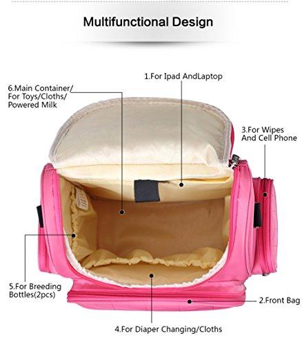 Yosoo momia mochila diseño con gran capacidad impermeable mochila de viaje cuidado del bebé pañales Bolsas morado morado morado