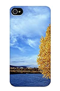 Hard Plastic Iphone 4/4s Case Back Cover, Hot Lakeside Autumn Tree Case For Christmas's Perfect Gift