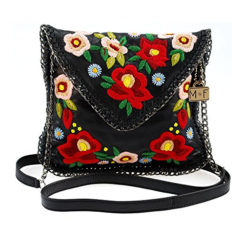 Mini Chain Woven MARY Leather Floral FRANCES Embroidered Prospect Budding with Edges Handbag zzUAnw