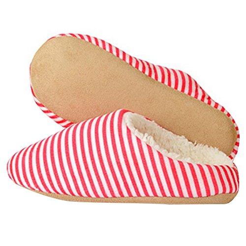 Hestio Unisex Rigato Comfort Caldo Invernale Scarpe Pantofole Antiscivolo Rosso