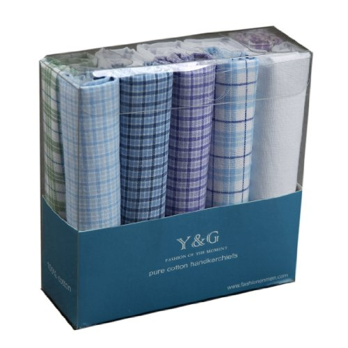 YED01 Designer Gift for Mens 10 Pack Handkerchiefs Set School Husband By Y&G