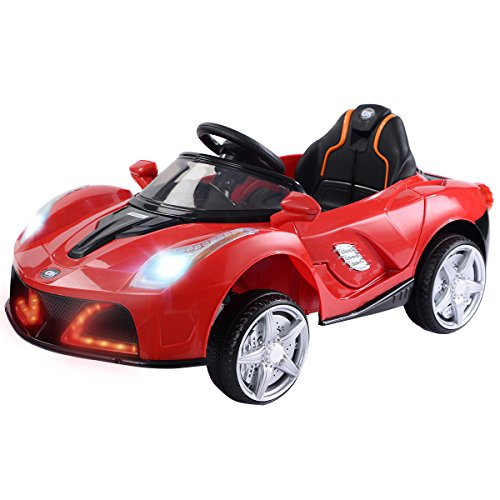 Costzon Kids Ride On Car, 12V Battery Powered Vehicle, Parental RC Remote Control & Manual Modes w/ LED Lights, Horn, Music, MP3, Open Doors, High/ Low Speed (Red)