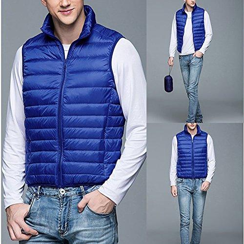 Del Gilet Invernale Blu Packable Up Collare Uomini Anteriore Semplice Basamento Del Giù Linyuan Zip XnxRdw