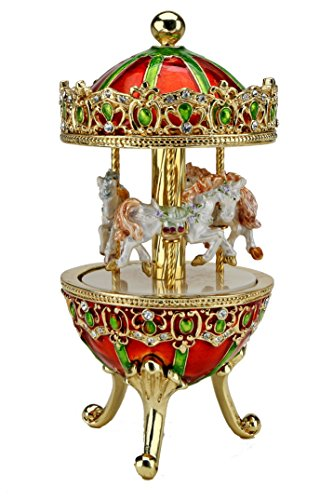 - Sparkling Collectibles Carousel Horse Music Box Set w/Austrian Crystals - Children's Music Box, Carousel Music Box, Dancing Music Box