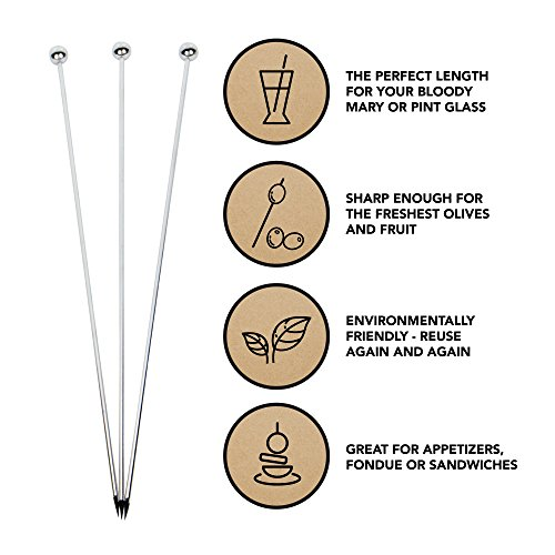 Stainless Steel Cocktail Picks - Extra long 8'' (Set of 12) by Top Shelf Bar Supply (Image #1)