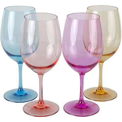Lily's Home Unbreakable Indoor / Outdoor Acrylic Wine Glasses, 100% Tritan Plastic Shatterproof and Reusable. BPA-free. Mixed Color. Set of 4