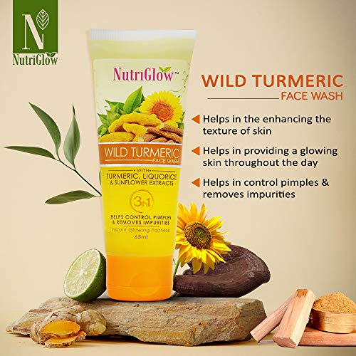 """""""Nutriglow Natural Face Wash for Dry Skin with Turmeric Tan removal and Skin brightning/Women Glowing Skin – Repair Sun Damage"""