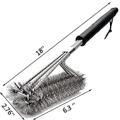 BBQ Grill Brush,Preon 18 Inches 3 in 1 Stainless Steel Best Barbecue Grill Cleaning Brush,Durable and Effective – 100% Rust Proof with Wire Bristles & Long Handle & Strength Clip by Preon Direct