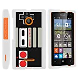 MINITURTLE Case Compatible w/ [Microsoft Lumia 435, Lumia 435 Case][Snap Shell] Hard Plastic Slim Fitted White Snap On Case Protector Cover w/ Unique Designs Game Controller
