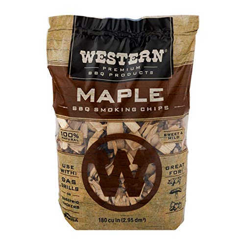 Western Premium BBQ Products Maple BBQ Smoking Chips, 180 cu in (Maple Wood Chips)