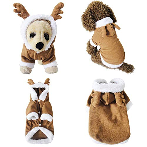 Mogoko Dog Cat Christmas Reindeer Costume, Funny Pet Elk Costumes Cosplay Dress, Puppy Fleece Outfits Warm Hoodie Animal Festival Apparel Clothes (