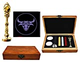 MNYR Aquarius Constellation Wax Seal Stamp Wood Box Gold Metal Peacock Handle Melting Spoon Candle Makingg Wedding Invitation Gift Card Stationary Custom Logo Wax Seal Sealing Stamp Stick Kit