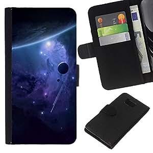 - UNIVERSE PLANET PURPLE STARS GALAXY ALIEN - - Prima caja de la PU billetera de cuero con ranuras para tarjetas, efectivo desmontable correa para l Funny House FOR Samsung ALPHA G850
