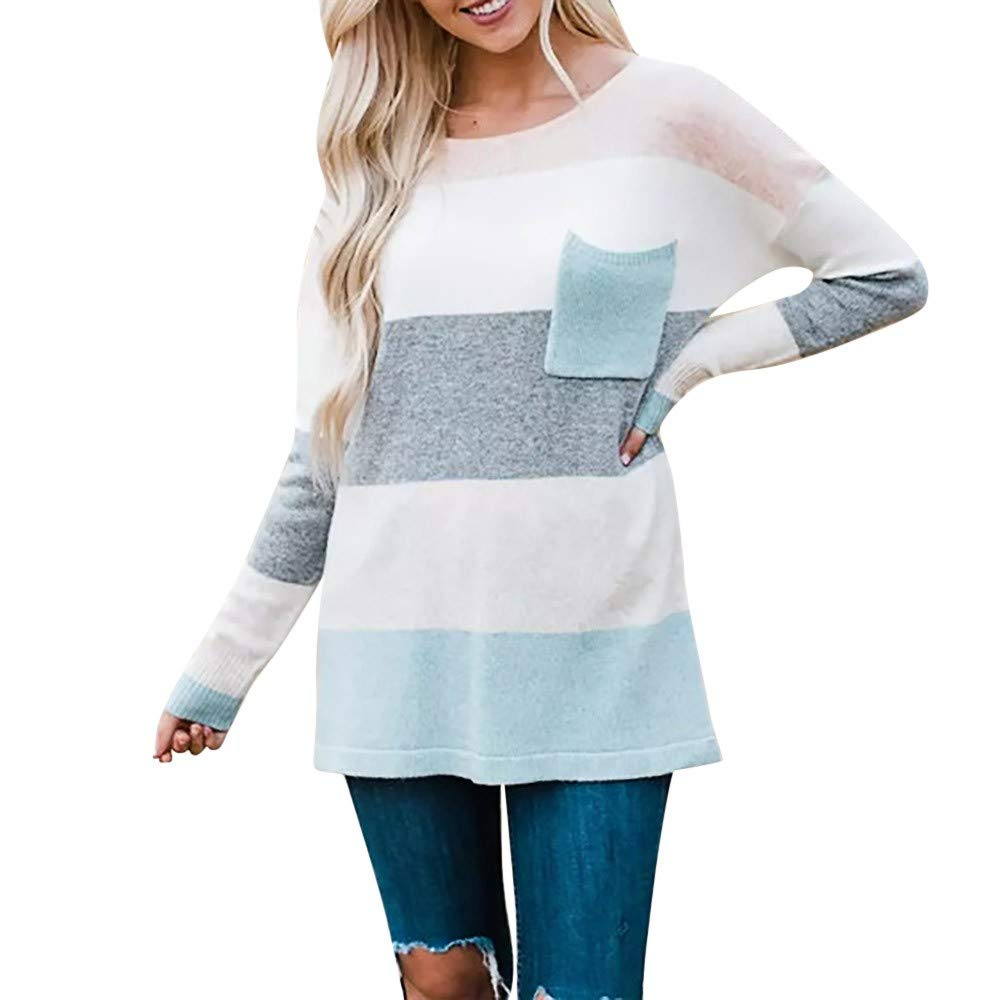 Dainzu Ladies Sexy Casual Tops,Long Sleeve Stripe Sweater Oversized Knitted Pocket Jumper Pullover