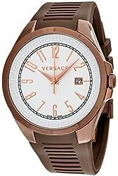 Versace V-Man White Dial Brown Rubber Mens Watch P7QM6D001-S497