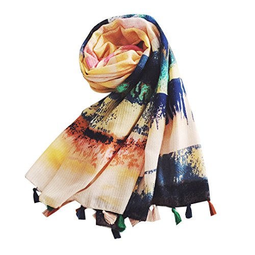 Monique Women Retro Art Floral Print Cotton Linen Long Scarf Autumn Spring Warm Wrap Summer Beach Shawl 1343 Blue - Cotton Prints Linen Scarf